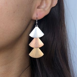 Anthropologie 3 metals cascade statement earrings